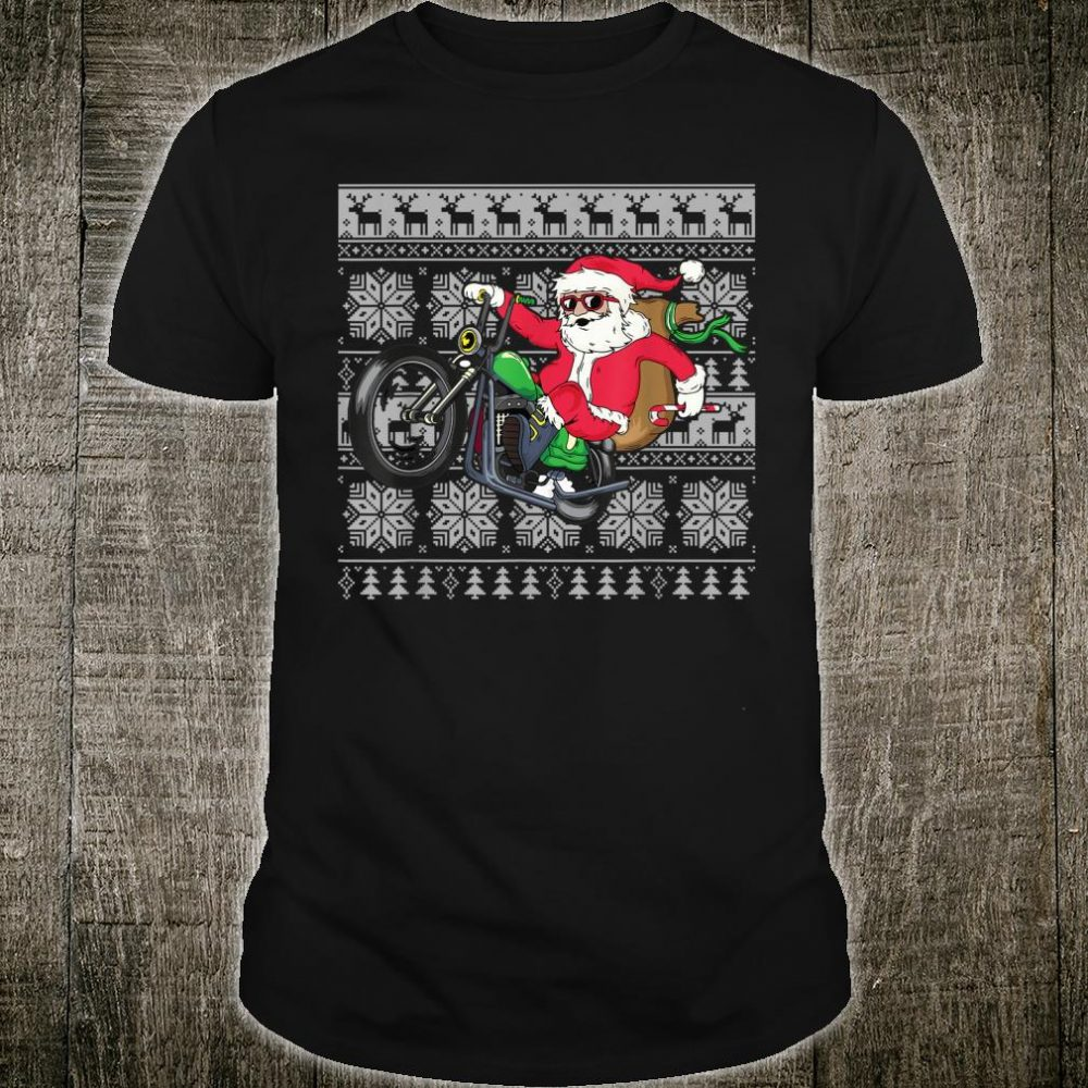 Santa on Motorcycle Ugly Christmas Xmas Shirt