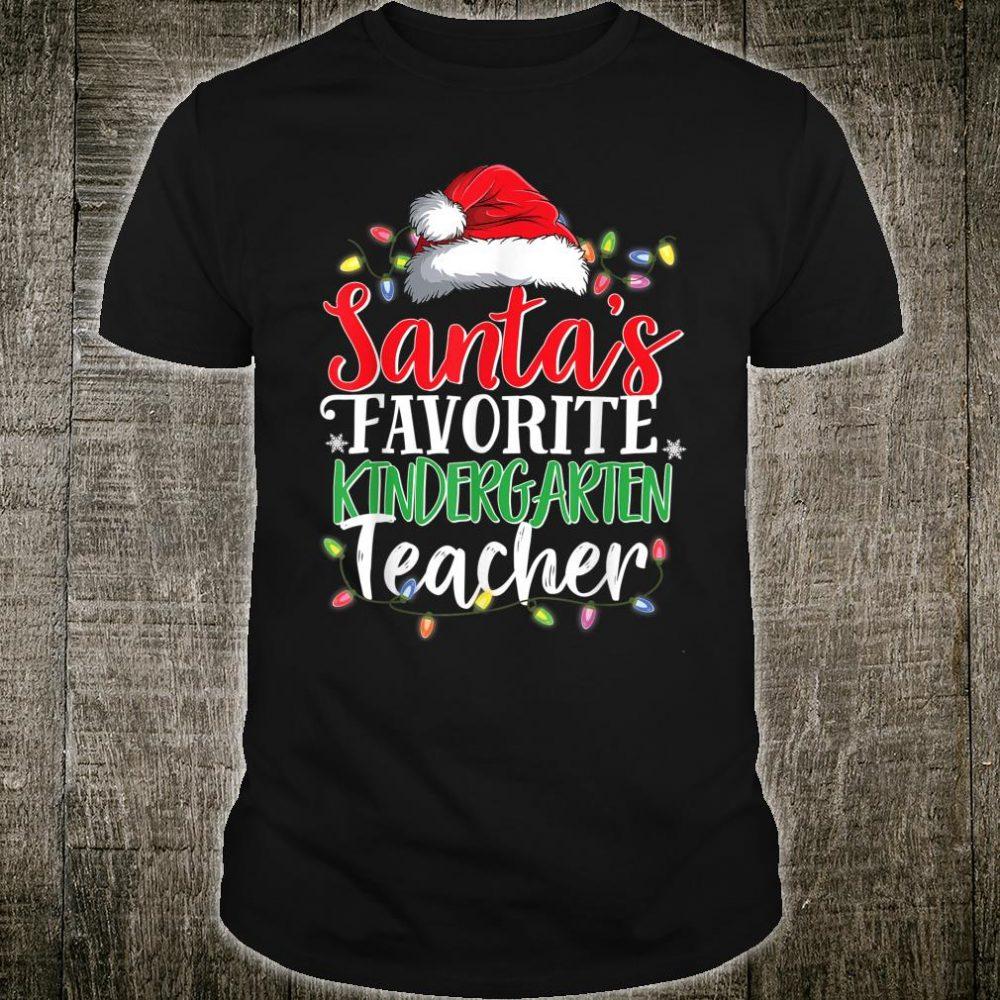 Santa's Favorite Kindergarten Teacher Christmas Shirt