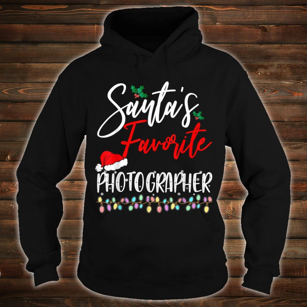 Santa's Favorite Photographer Santa Hat Christmas Lights Shirt hoodie
