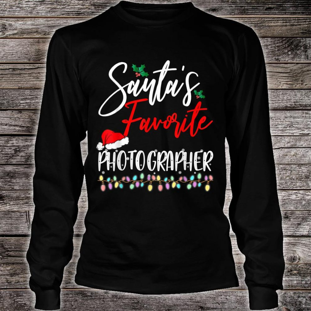 Santa's Favorite Photographer Santa Hat Christmas Lights Shirt long sleeved