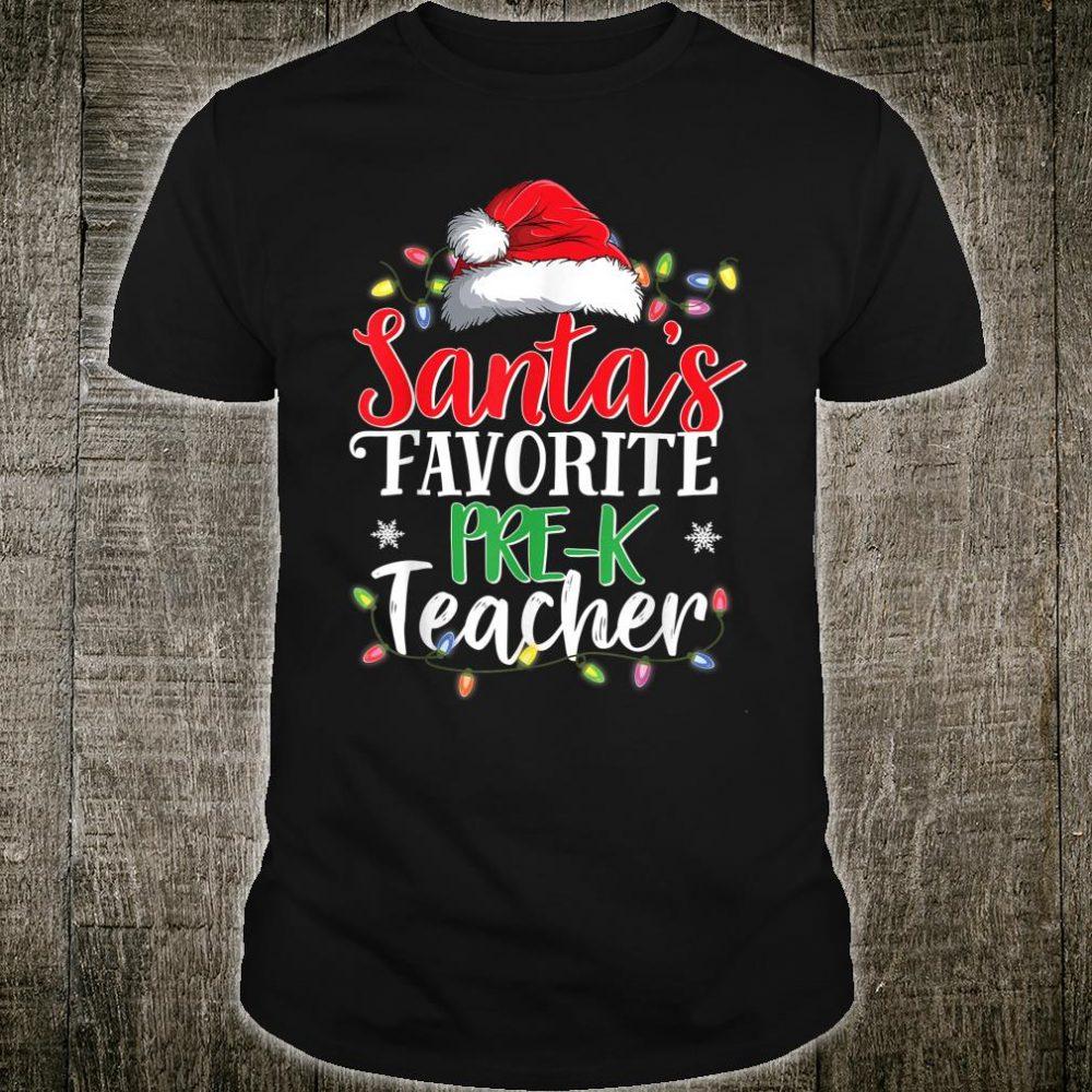 Santa's Favorite PreK Teacher Christmas Shirt