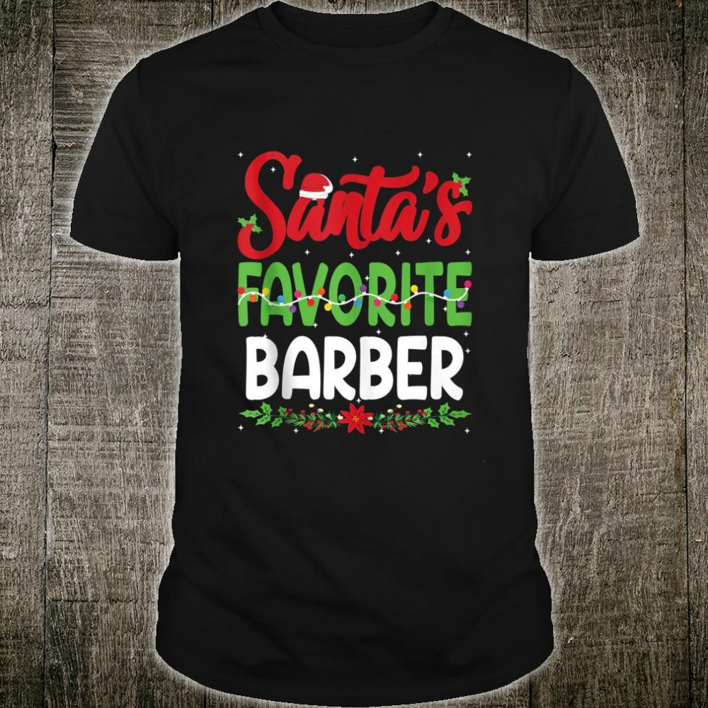 Santa's Favourite Barber Christmas Santa Hat Lights Shirt