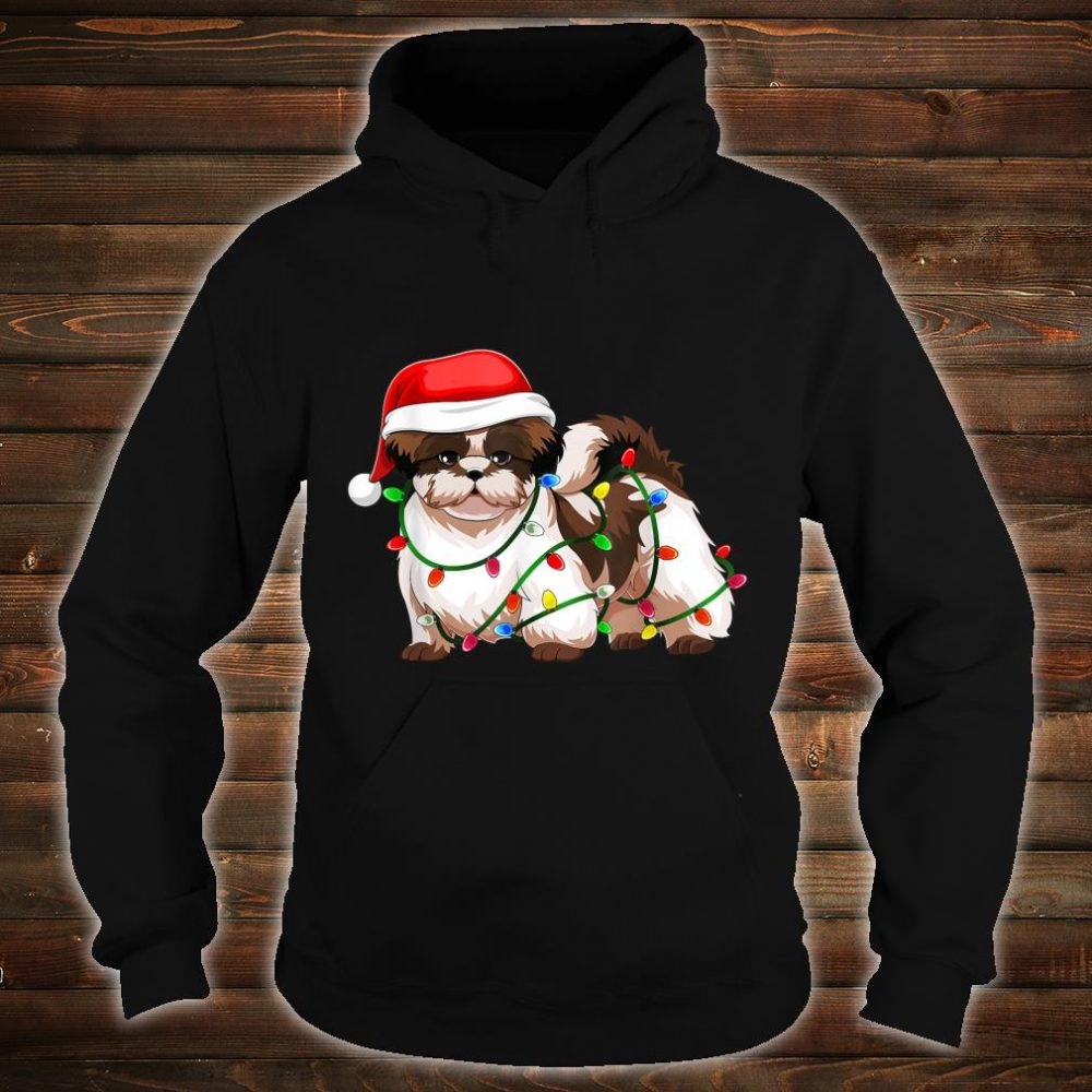 Shih Tzu Christmas Santa Hat Shirt Gift Lights Decor Shirt hoodie