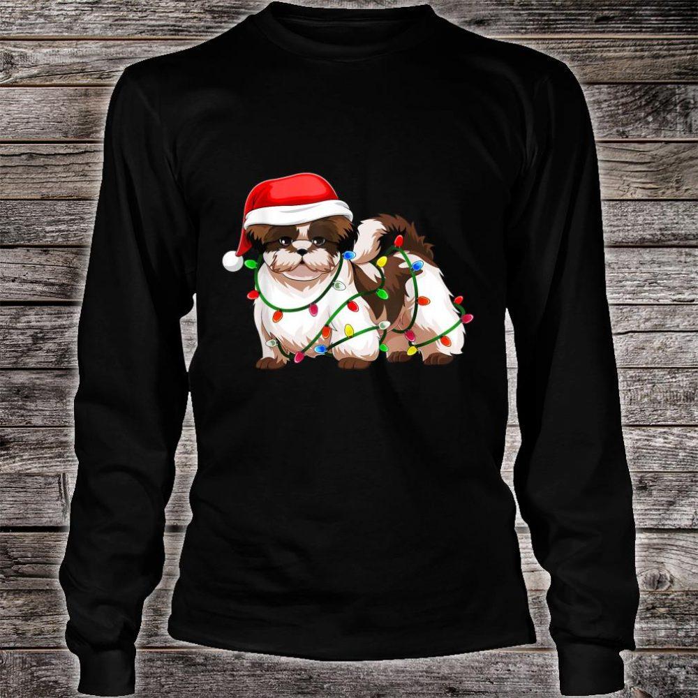Shih Tzu Christmas Santa Hat Shirt Gift Lights Decor Shirt long sleeved