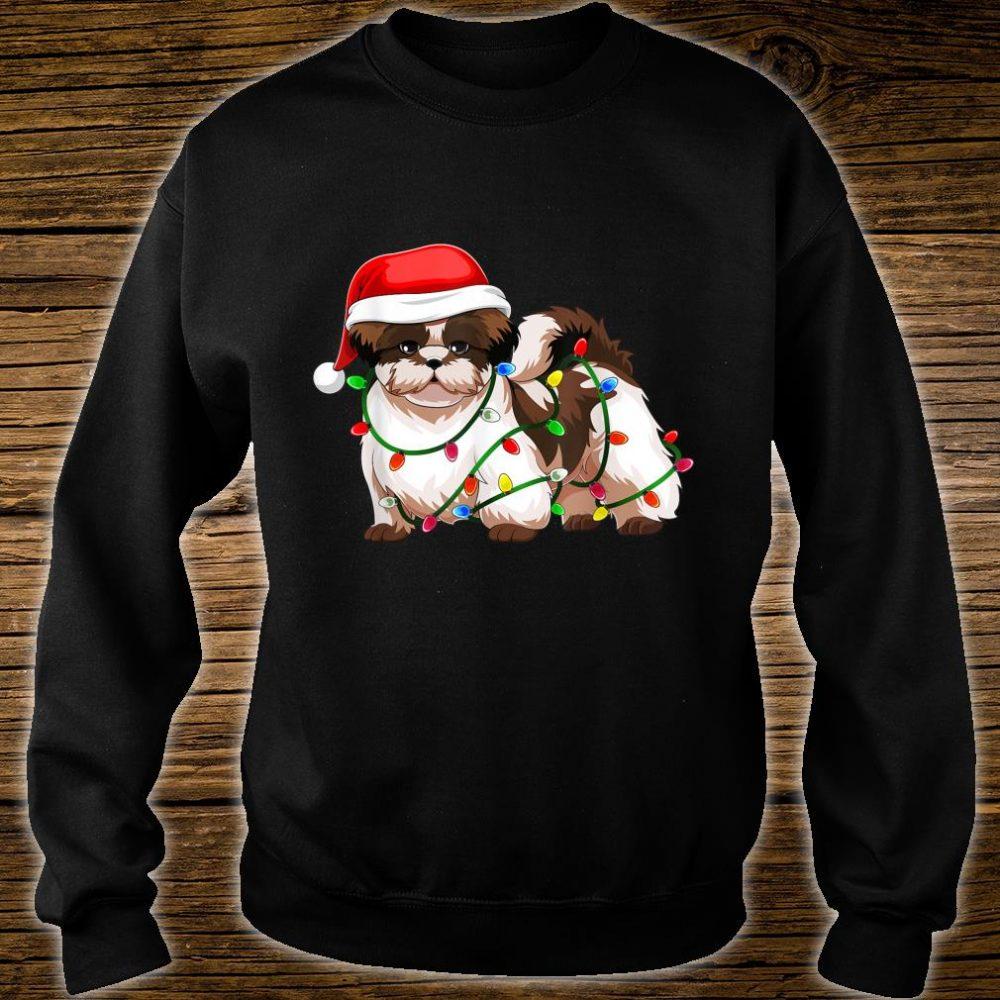 Shih Tzu Christmas Santa Hat Shirt Gift Lights Decor Shirt sweater
