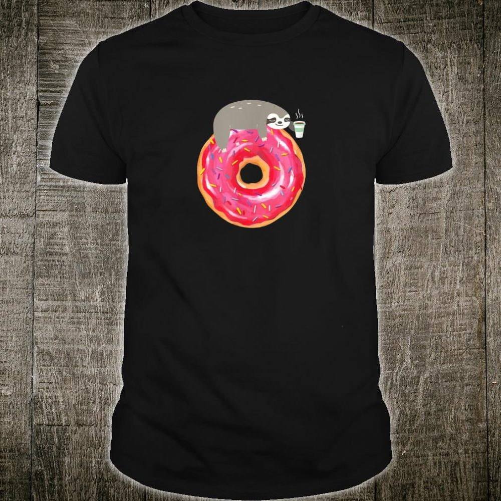Sloth On Donut With A Cup Of Coffee Animal Costume Shirt