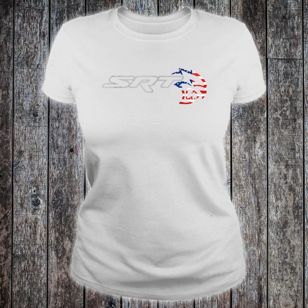 Srt Hell cat Dodge Shirt (H) Flag US Silver Awesome Shirt ladies tee