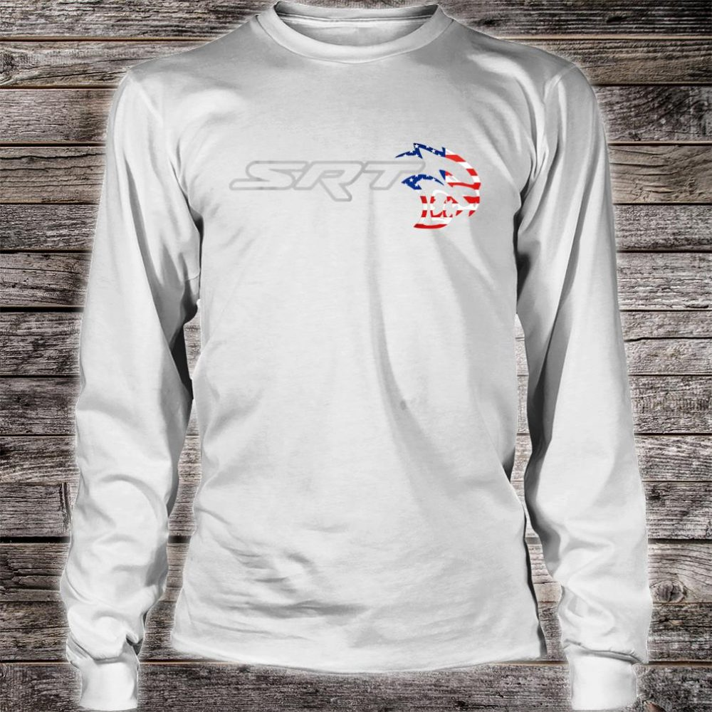 Srt Hell cat Dodge Shirt (H) Flag US Silver Awesome Shirt long sleeved