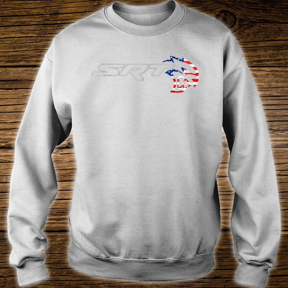 Srt Hell cat Dodge Shirt (H) Flag US Silver Awesome Shirt sweater