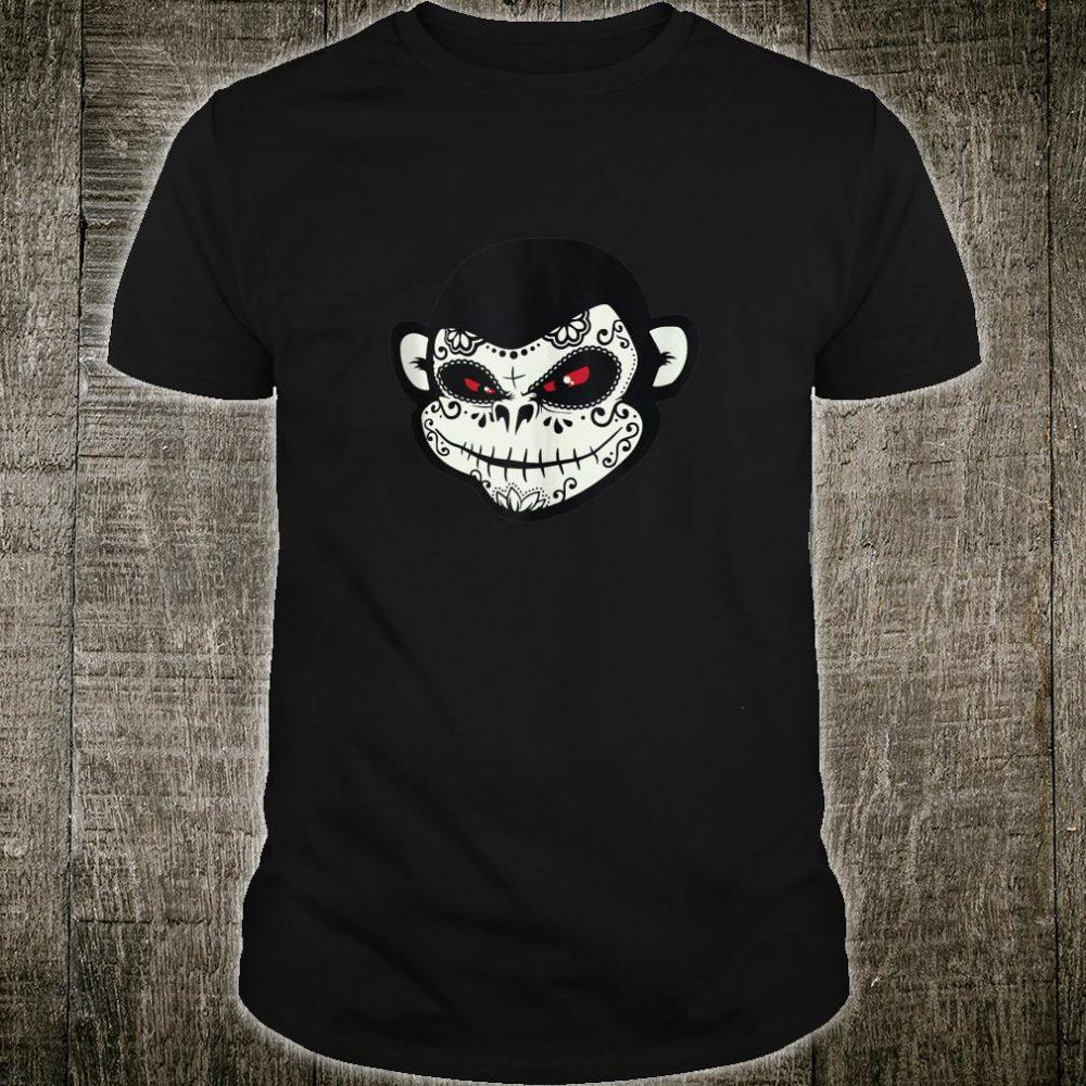 Sugar Skull Monkey Dia De Los Muertos Calavera Pun Shirt