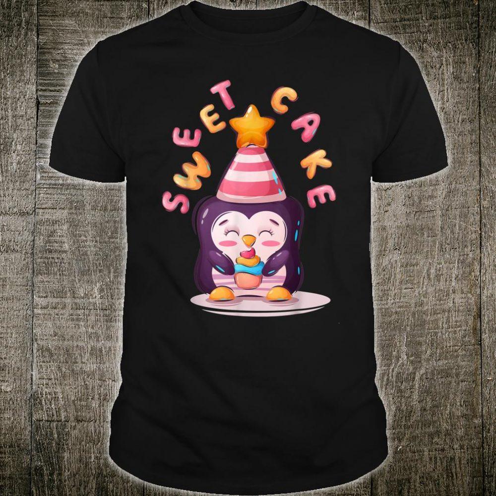 Sweet Penguin Eating Cake Illustration Shirt