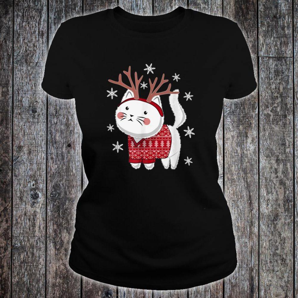 Ugly Christmas Cat Deer Shirt ladies tee