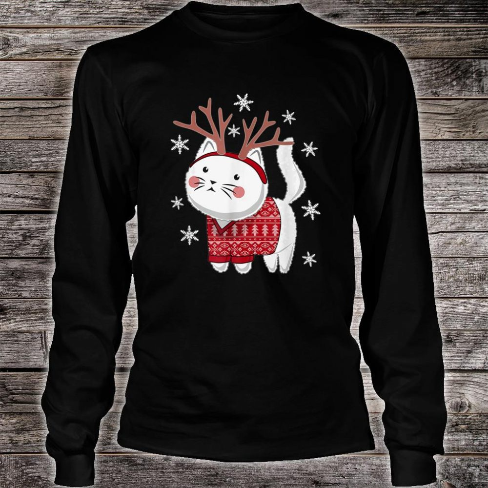 Ugly Christmas Cat Deer Shirt long sleeved