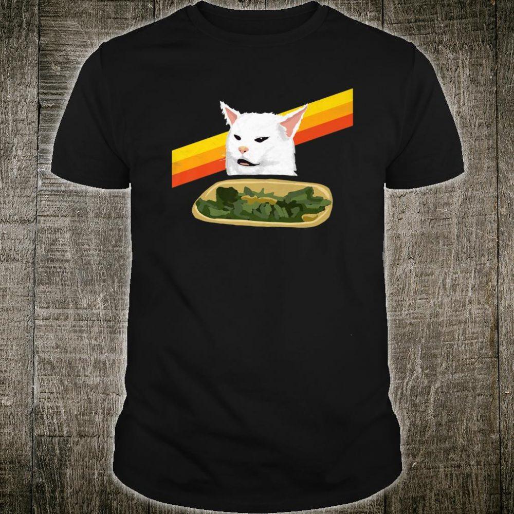 Vintage Arguing White Cat Meme Retro Eighties Vibe Shirt