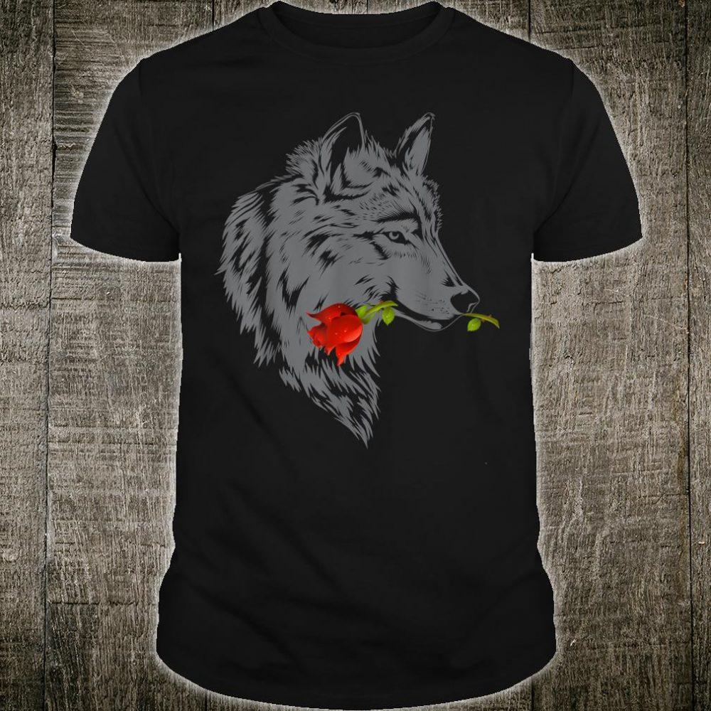Wolf Rose Cute Valentine Gray Wolf Shirt