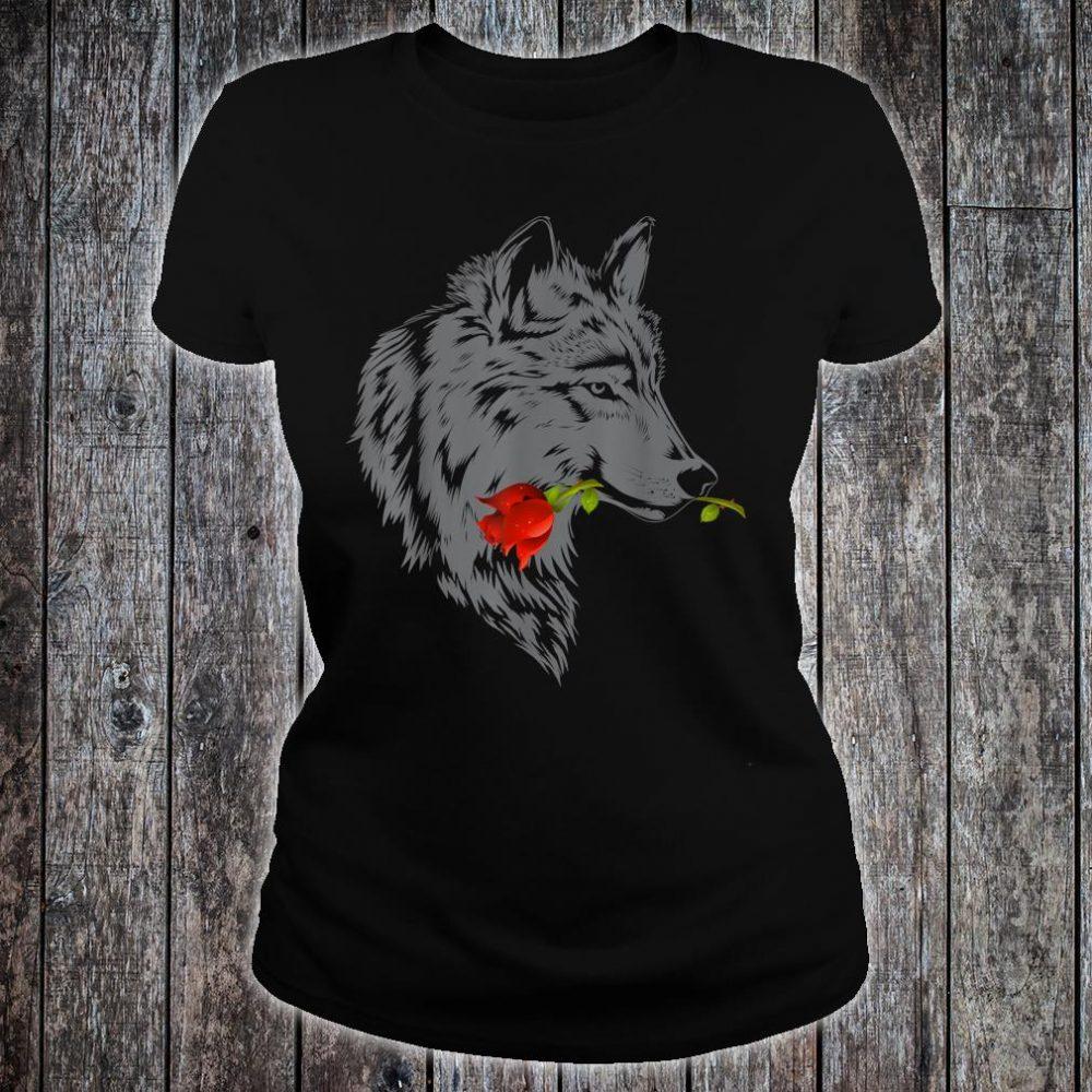 Wolf Rose Cute Valentine Gray Wolf Shirt ladies tee