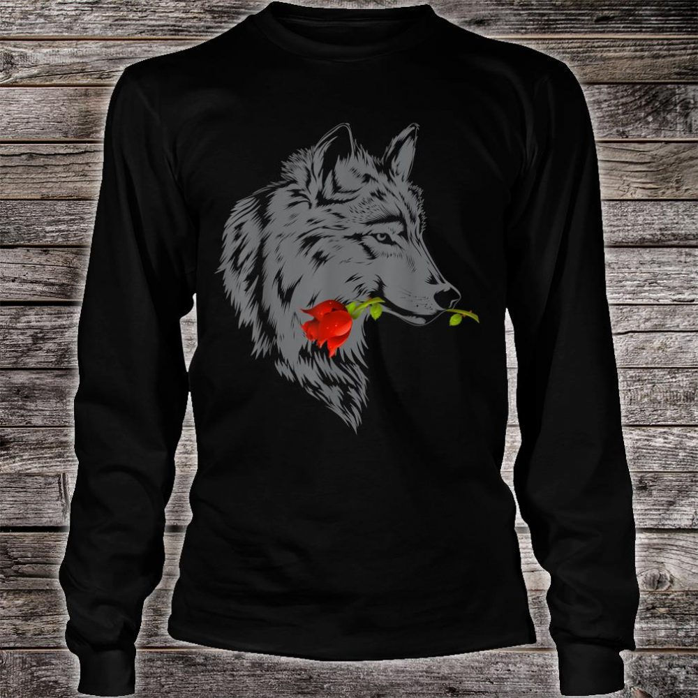 Wolf Rose Cute Valentine Gray Wolf Shirt long sleeved