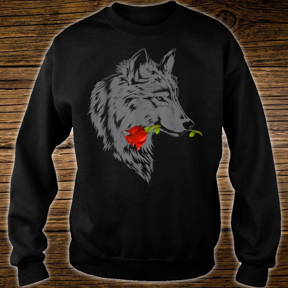 Wolf Rose Cute Valentine Gray Wolf Shirt sweater