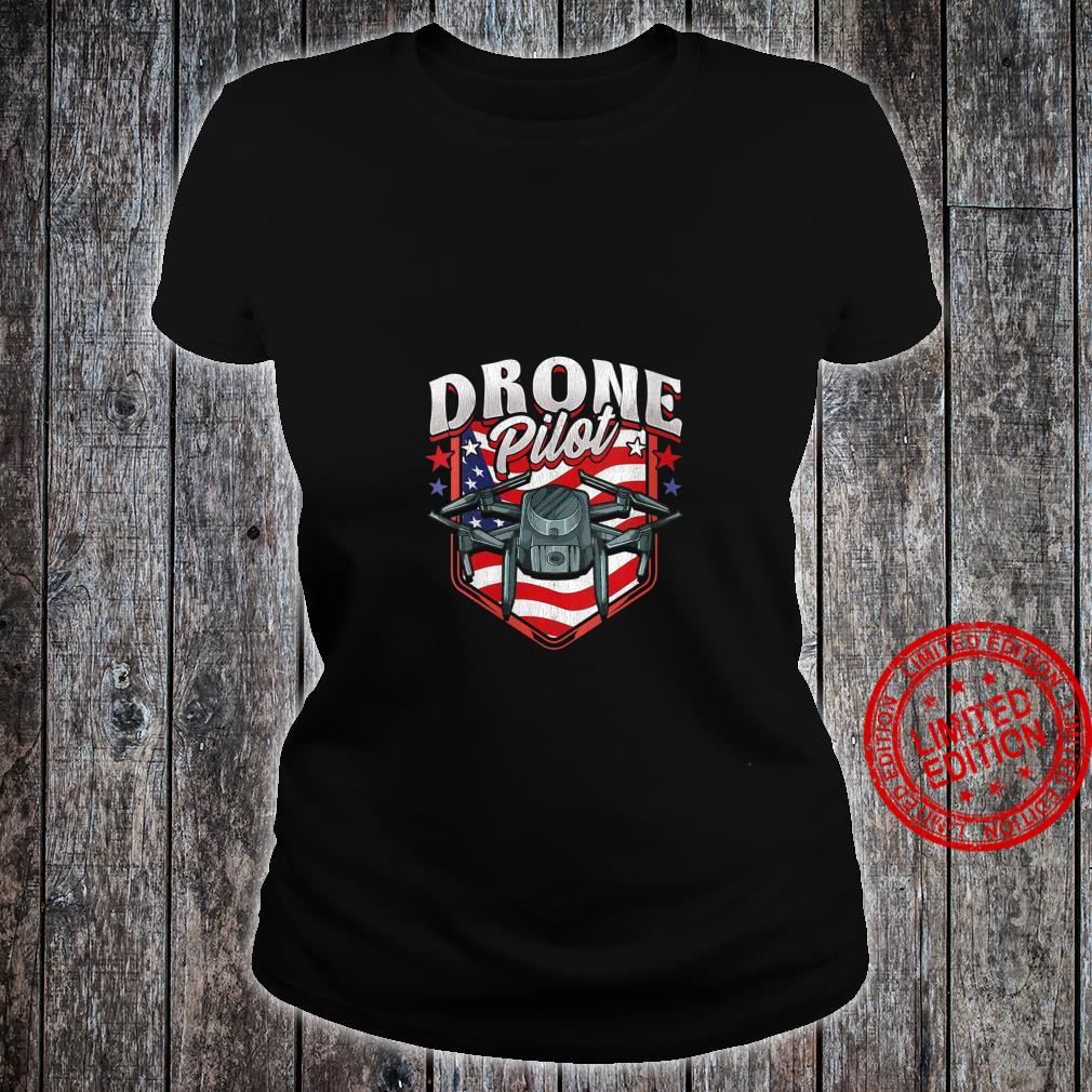 Womens American Flag Drone Pilot Patriotic USA Shirt ladies tee