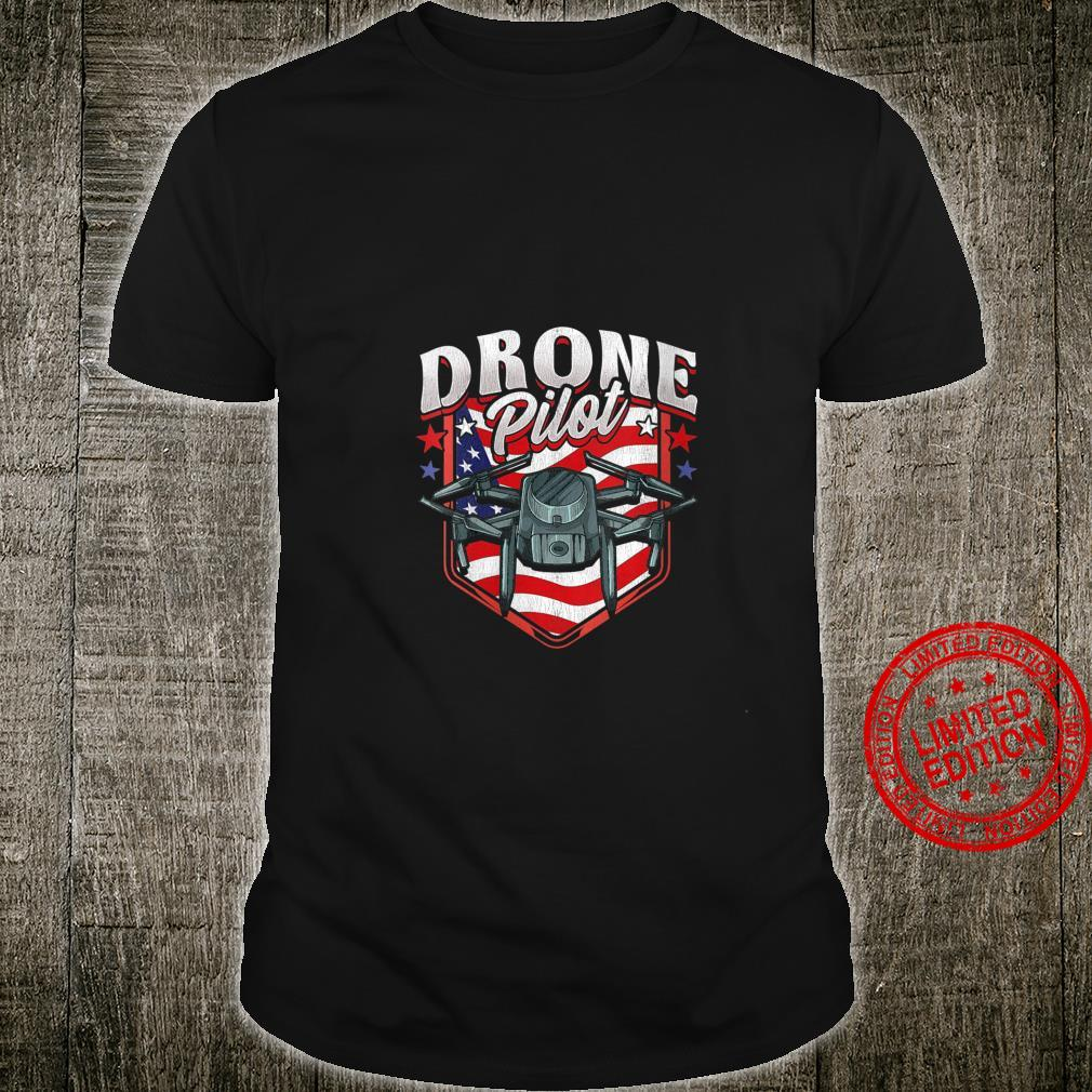 Womens American Flag Drone Pilot Patriotic USA Shirt