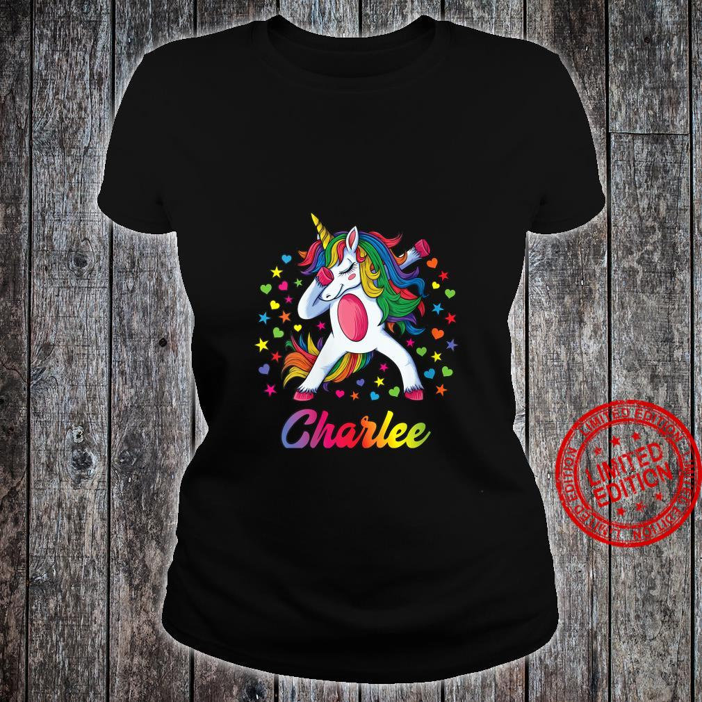 Womens Charlee Dabbing Unicorn Rainbow Personalized Name Custom Shirt ladies tee