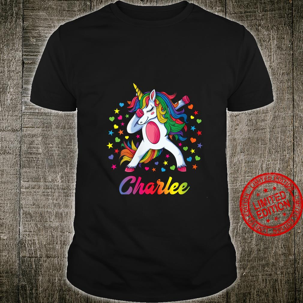 Womens Charlee Dabbing Unicorn Rainbow Personalized Name Custom Shirt