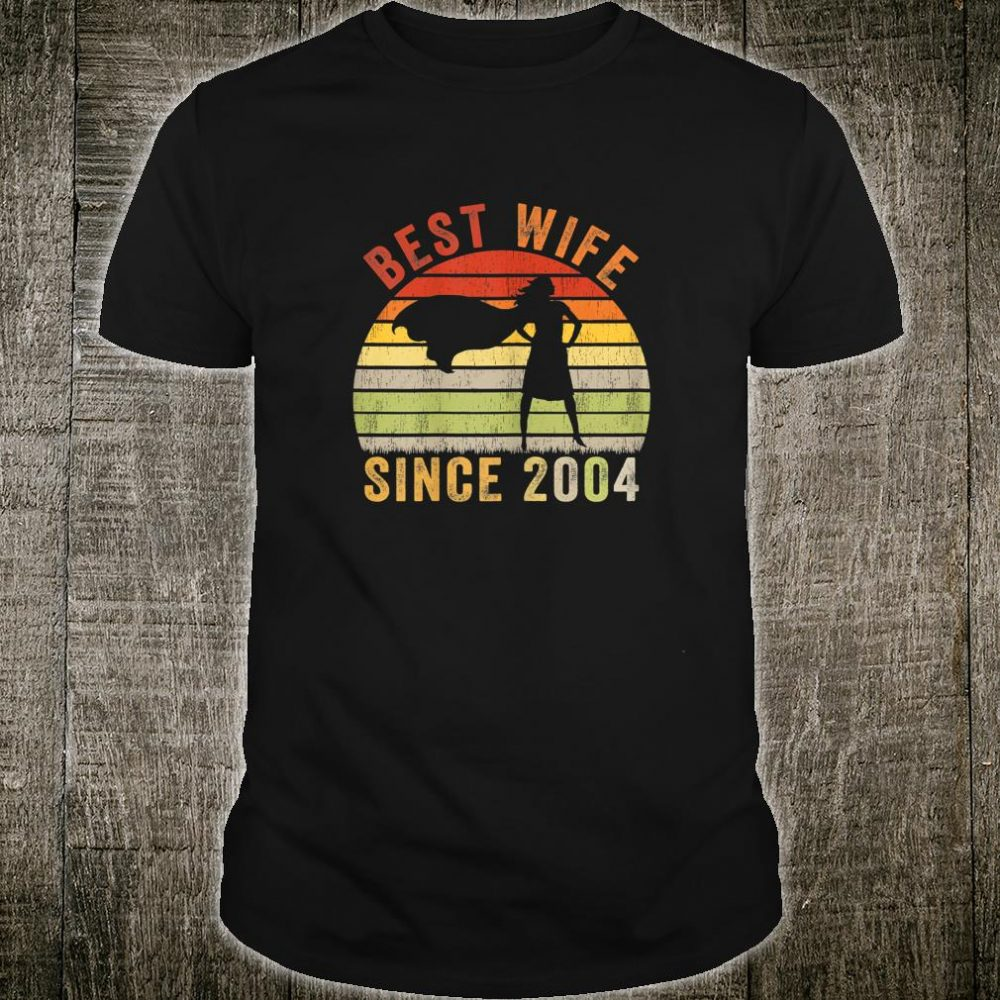 Womens Vintage Best Wife Since 2004 Superhero Holiday Shirt