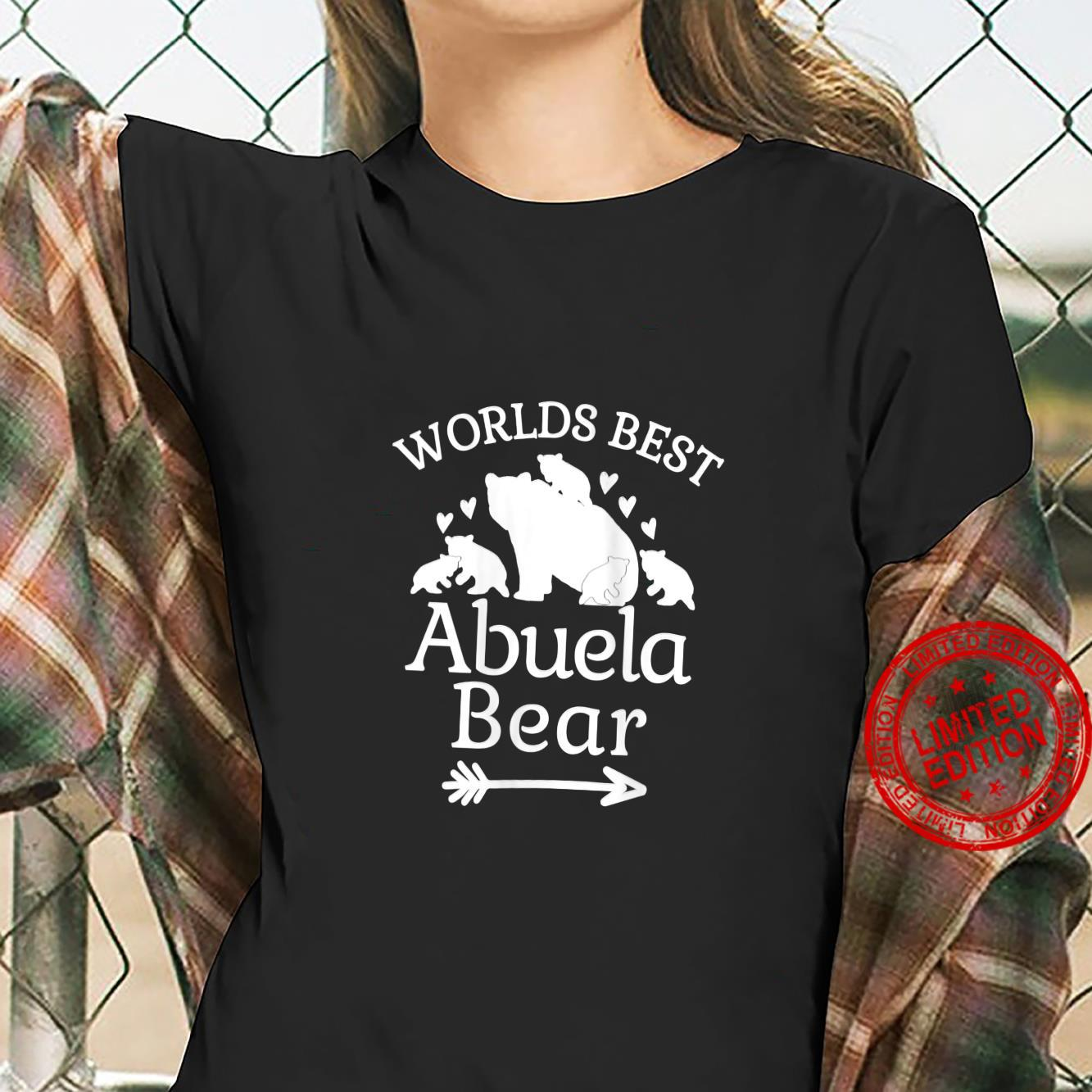 Womens Worlds Best Abuela Bear Baby Bear Cubs Spanish Grandmother Shirt ladies tee