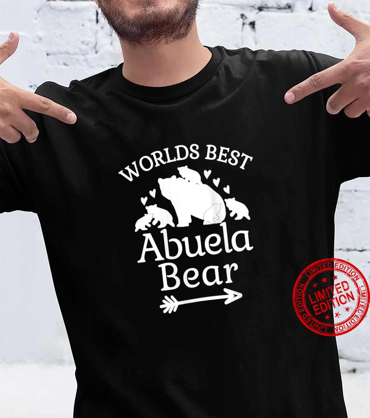 Womens Worlds Best Abuela Bear Baby Bear Cubs Spanish Grandmother Shirt